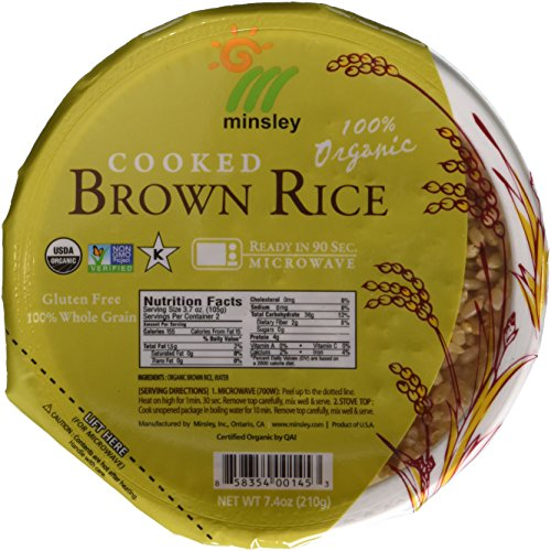 Minsley Cooked Brown Rice Bowl, 100 Percent Organic, Microwave Ready in 90 Seconds, 7.4-Ounce Bowls, Pack of 6