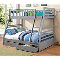 Coaster 460182 Cooper Twin and Full Bunk Bed with Two Storage Drawers Attached Ladder and Safety Rails in