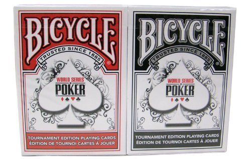 Plastic Coated Playing Cards (Bicycle WSOP Plastic Coated Playing Cards - 2 Decks Poker Size Regular Index Red/Black)