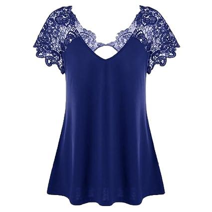 Logobeing Mujer Camiseta - Sin Mangas - Talla Grande - Cuello En V - Blusas Elegante