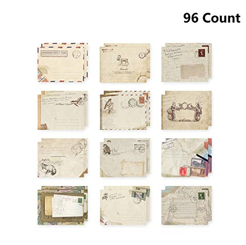 (96Pcs Fireboomoon Greeting Card Envelopes, Cute Retro Lovely Vintage Special Mini Envelope for Christmas, Wedding, Birthday Party (12 different disign) )