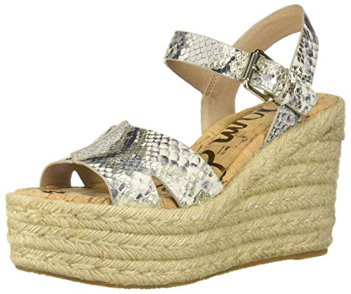 (Sam Edelman Women's Maura Wedge Sandal, Black/White Multi Snake, 6.5 M US)