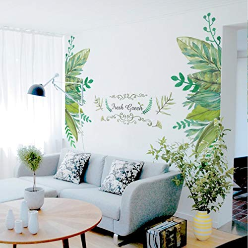 Chiam-Mart 1 Pc European Leaves Fake Metal Scroll Fresh Green Wall Stickers Wallpaper Poster Flower Jungle World Map Decals Kids Window Cars Decal Notable Fashionable Vinyl Mural Art Decor (Scroll Green Wallpaper Leaf)