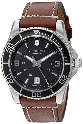 Victorinox Swiss Army Men's 249107 Maverick Watch with Black Dial and Brown Leather Strap