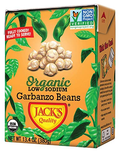 Jack's Organic Garbanzo Beans - Packed with Protein & Fiber, Heart Healthy, Low Sodium, Non GMO, BPA Free, Ready-to-eat, 100% Sustainable Packaging, Easy Open Tearstrip, [8 Pack of 13.4oz cartons] (Best Canned Beans To Eat)