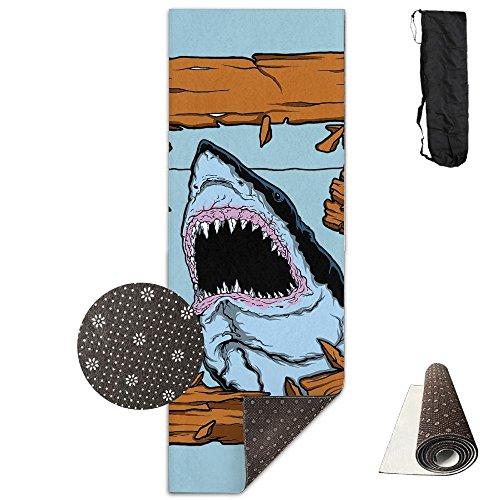 (Non Slip Yoga Mat Shark Premium Printed 24 X 71 Inches Great For Exercise Pilates Gymnastics Carrying)