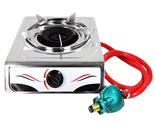 Bioexcel Portable Auto Ignition 15,000 BTU Single Burner Propane Gas Stove Stainless Steel Body - Perfect Single Gas Burner for Your Kitchen & Outdoor Camping (Propane Go Stove)