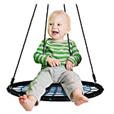 FeiYen Tree Swing + Hanging Strap Kit Includes 2 Tree Swing Straps and Carabiners - 40' Round Outdoor Swing for Kids Adults - Extral Thick Rope Nest Web Swing Holds 600 lbs + Swing Set Accessories