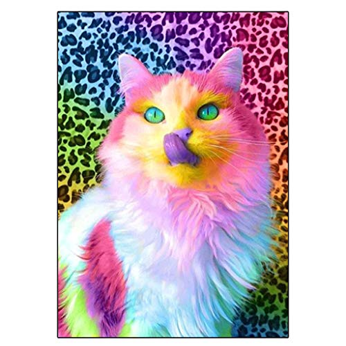 DCIDBEI DIY Diamond Painting Kit Cat,Diamond Art for Teens Rhinestone Embroidery Cross Stitch Kits Supply Arts Craft Canvas Wall Decor Stickers Home Decor 10x10 inches