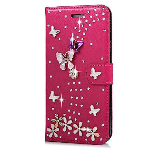 """Mavis's Diary Étui iPhone 7 Plus (5.5"""") Coque en Cuir Rose Carmin Bling Strass Fleur Papillon Housse Portefeuille Fente de Carte Étui à Rabat Fermeture Magnétique Flip Phone Case Cover+Chiffon"""