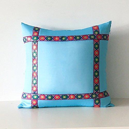 HOMEE I Love the Artist'S Original Mediterranean Living Room Blue Tower Poplin Stitching of Minimalist Solid Color Pillow Sofa Cushion ,30X50Cm, Birds Blue,Blue Lagoon,60X60cm
