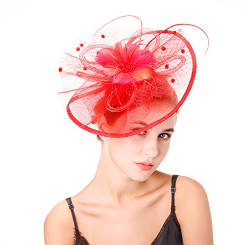 Derby Fascinator Hat,Flower Cocktail Tea Party Hats Headband with Hair Clip Flower Mesh Fascinator for Women Girls on Wedding, Party,Bride Shower (Red)