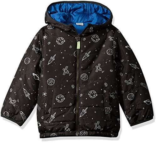 Osh Kosh Boys' Little Reversible Midweight Jacket, Space Print/Wedgewood Blue, 5/6