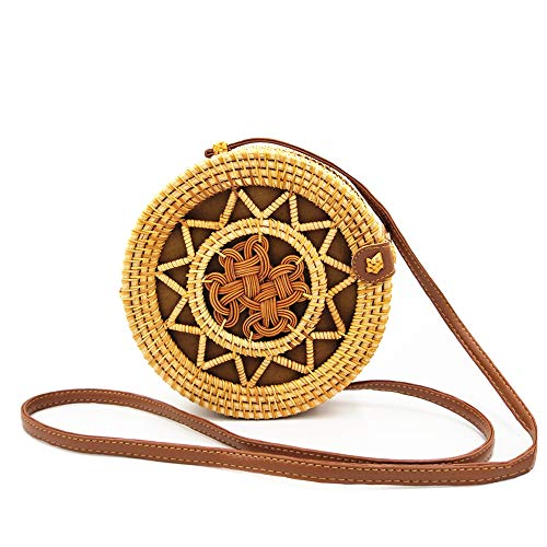 Handwoven Round Rattan Bags for Women Bali Ata Straw Bags Hollow Out Shoulder Leather Straps