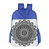 Haixia Kid Boys'&Girls' Backpack Lotus Arabesque Mandala with Flower Effects Oriental Folk Boho Sacred Artful Illustration Black White