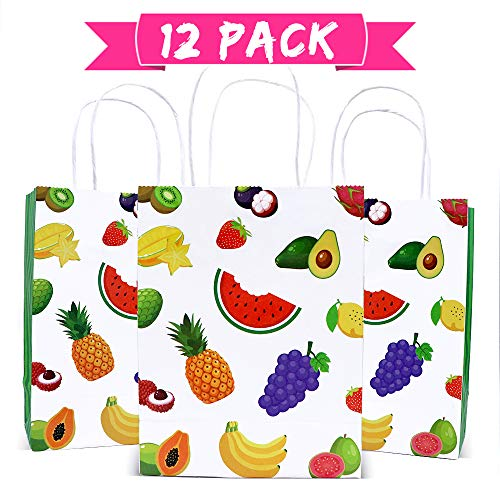 watermelon party supplies tutti frutti party decorations summer tropical fruit birthday gift bag candy kraft paper treat goodie bags with handle for Hawaiian Luau holiday swimming beach pineapple orange Pitaya pattern baby shower graduation party -