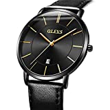 Mens Thin Watches Blue Dial,Simple Leather Watch Men Wrist Watch Rose Gold Casual Waterproof Watches for Men,Analog Quartz Business Watch with Date,Men's Fashion Minimalist Wrist Watch with Calendar