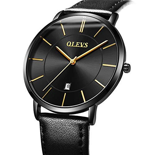 Men's Watches with Black Face,Black Leather Watches for Men with Calendar,Mens Ultra Thin Waterproof Watch Sport Casual Luxury Business Wrist Watch,Men's Fashion Date Slim Analog Quartz ()