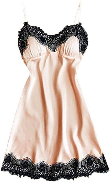 Lethez Women Lingerie Lace Chemise Sleepwear Babydoll Long Dress Full Slip Sleepwear Nightgown Nightdress