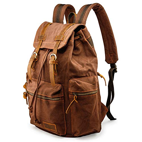 GEARONIC TM 21L Vintage Canvas Backpack for Men Leather Rucksack Knapsack 15 inch Laptop Tote Satchel School Military Army Shoulder Rucksack Hiking Bag Coffee