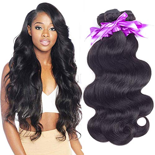 Brazilian Virgin Hair 3 Bundles Body Wave Hair Extension 100% Unprocessed Human Hair Weave 100g Hair Weft Natural Black Color (18 20 -