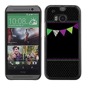 Cubierta de la caja de protección la piel dura para el HTC ONE M8 2014 - black diamond pattern