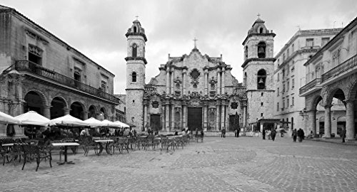 Vintography 8 x 12 Black White Photo The Havana Cathedral on The Plaza de la Catedral, in Havana, Cuba 2010 Highsmith 10a