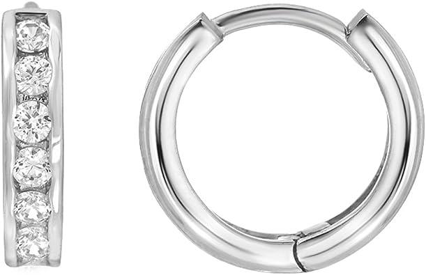 925 Sterling Silver Rhodium-plated Polished Huggie Hoop Earrings 2mm x 14mm