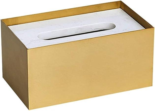 WWWANG Tejido de la Caja de latón mármol sostenedor de la Toalla de Papel de Gran Almacenamiento Caja de la servilleta Creativa del Ministerio del Interior de Oro (Size : BCSAADDJ): Amazon.es: