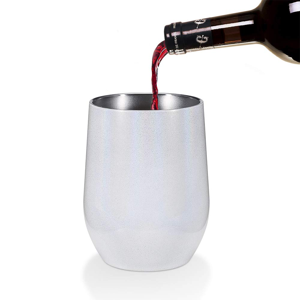 F Double Wall Vacuum Insulated Stainless Steel Stemless Wine Glass Drinks Cocktails Include Straws /& Brush 2 Pack 12 oz Wine Tumbler with Lids Champagne Travel Coffee Mug Cup for Wine