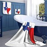 WolfgangDecor Texas Star Long Bathroom Accessories Set Outline of the Texas Map American Southwest Austin Houston City Design Custom towel set Vermilion White Violet Blue