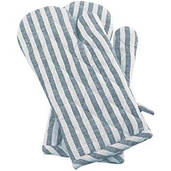 Cote De Amor Set of 2 Oven Mitts Gloves Bulk Heat Resistant and Machine Washable, 100% Cotton Farmhouse Stripe Oven Mitts for Everyday Kitchen Cooking Baking BBQ, Slate Blue