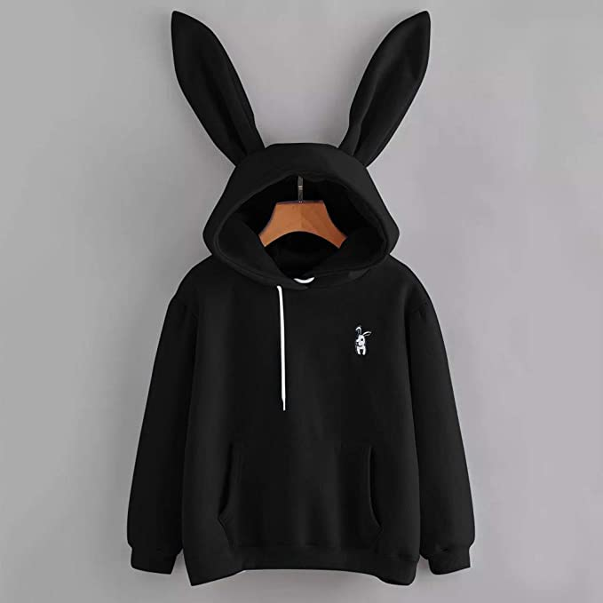 Amazon.com: VOYOAO Womens Grils Rabbit Hoodie Sweater Long Sleeve Bunny Ear Pullover Tops: Clothing