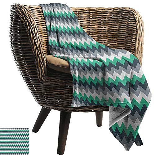 (AndyTours Travel Throw Blanket,Chevron,Zig Zag Symmetric Arrows Striped Pattern in Vibrant Color Artisan Print, Jade Green Grey White,Super Soft and Warm,Durable Throw Blanket 50