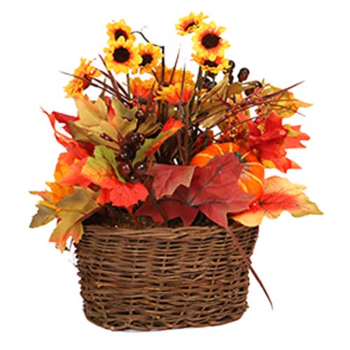 MISBEST Artificial Sunflowers Mixed Maple Leaves Berries Pumpkin with Grass Basket Fall Decoration Indoor Outdoor Fall Flower Hobby Lobby Table Centerpieces Arrangements Thanksgiving Decorations (Pumpkins Arrangements Fall With)