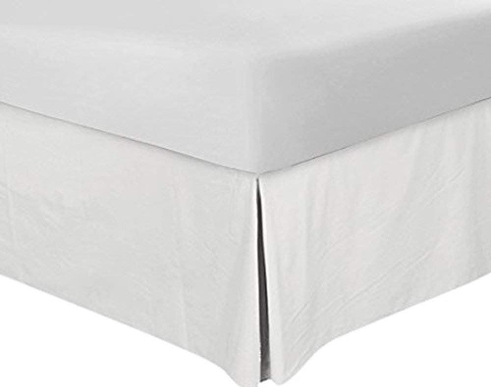 Egyptian Cotton 600 TC Hotel Quality 100% Split Corner Bed Skirt 16'' Drop Length Queen Size White Solid - Queen 60X80