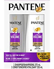 Pantene Shampoo and Conditioner Set, Pro-V Sheer Volume, with Blend of Nutrients & Antioxidants for Fine & Flat Hair, Silicone-Free, 375 mL & 355 mL