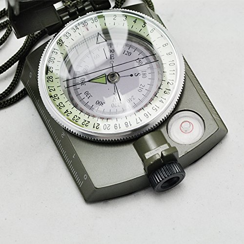 Carejoy Army Geology Compass Portable Military Compass Multifunctional Outdoor Camping Exploration Tool with Fluorescent Light