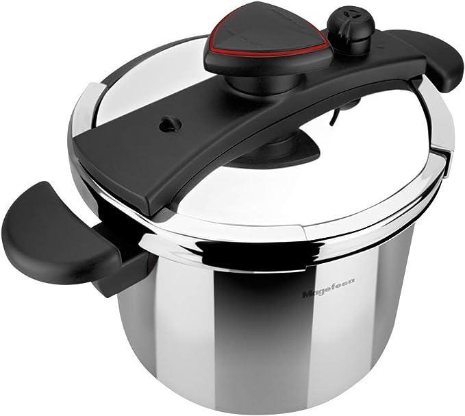 MAGEFESA ASTRA Olla a presión super rápida de fácil uso, acero inoxidable 18/10, apta para todo tipo de cocinas, inducción total.5 sistemas de seguridad, fondo termo difusor IMPACT BONDED BOTTOM. (6L): Amazon.es: