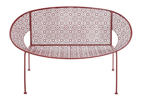 Benzara The Garden Bench, Bright Metal Red by Benzara