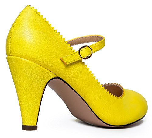 Un Toe Kitten Lemon Heels With Vintage Jane Gattino Shoe Tacchi Retro Limone Adams Con Vintage Scarpa A Pu Adams Retrò Rotonda Punta Capesante Pu J J Mary Round Mary Jane Scallop qvFFIw