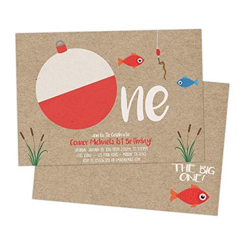 Big One Fishing 1st Birthday Invitations Boy Kraft Lure]()