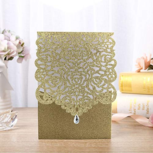 Gold Fortune 25 Packs Laser Cut Quinceanera Wedding Invitations with RSVP Cards Kit and Envelopes for Party Favors (Metallic Gold Two)