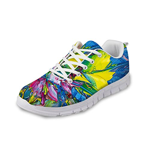 Shoes 4 Fashion Women's Lightweight Painting Running Design IDEA Casual HUGS Colorful Sneakers wqC6zPOx