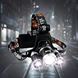 Led Headlamp,Mifine Headlamp Flashlight 3 LEDs 4 Modes Waterproof Headlight with 2 Rechargeable Batteries for Hiking Camping Riding Fishing Hunting(USB Cable Wall Charger Car Charger Included)