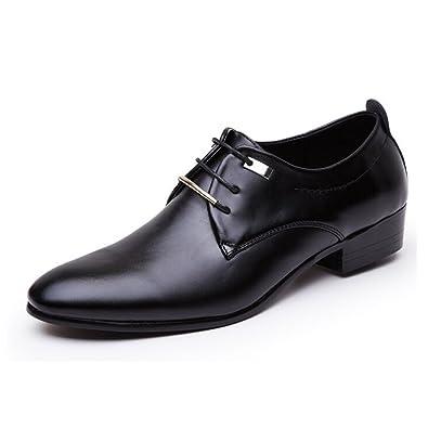 Blivener Klassisch Lackleder Derby Schuhe Formell Schnürer Smoking Lederschuhe Schnürschuhe Schwarz Größe EU 42
