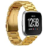 for Fitbit Versa Bands Stainless Steel Metal Bracelet Replacement Wristband Accessories Gold Watchband