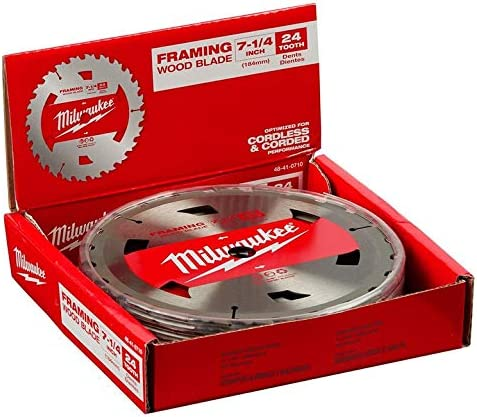 "5 Pack 48-41-0720 7-1//4/"" 24T Framing Circular Saw Blades NEW Milwaukee"