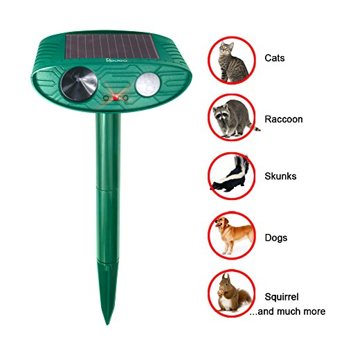 Redeo Cat Repellent Outdoor Solar Powered Ultrasonic Animal & Pest Repeller Scare Cat Dog Deer Rabbit Squirrel and Other Unwanted Animals Away