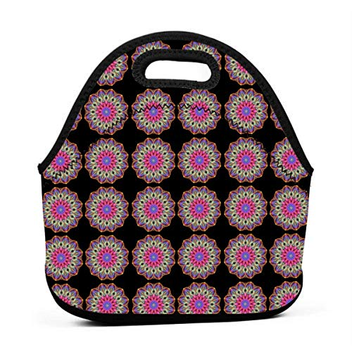 Basketweave Mandala_2292 Lunch Bag for Women,Men and Kids - Reusable Soft Lunch Tote for Work and School